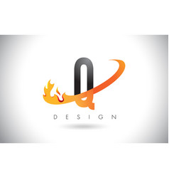 q letter logo with fire flames design and orange vector image