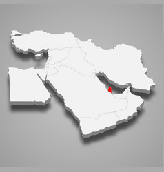 Qatar country location within middle east 3d map vector