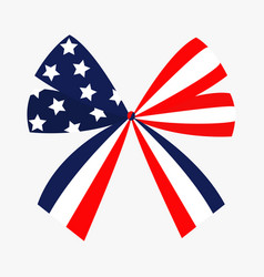 ribbon bow shape american flag stars and strips vector image