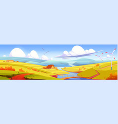 Rustic landscape meadow rural field with river vector