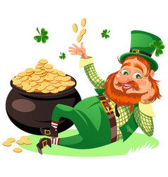 Saint patrick day characters leprechaun with red vector