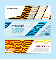 set horizontal color banners with white paper vector image