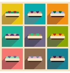 Set of flat web icons with long shadow bed vector