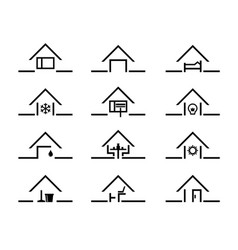 Set of house silhouette in different settings vector