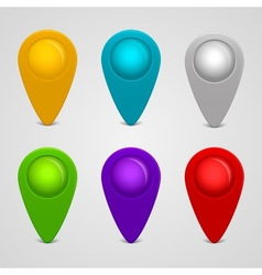 Set of round glossy map pointers vector