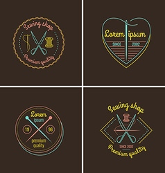 Sewing and Tailor Shop Label Set vector image