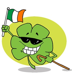 Shamrock Carrying A Cane And Waving An Irish Flag vector