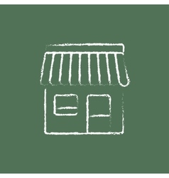 Shop icon drawn in chalk vector