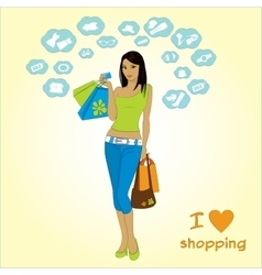 shopping girl and icons vector image