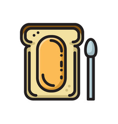 slice of bread toast with honey think line icon vector image