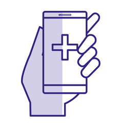 Smartphone with medical app vector