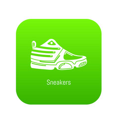 sneakers icon green vector image