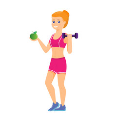 Sport women with green apple vector