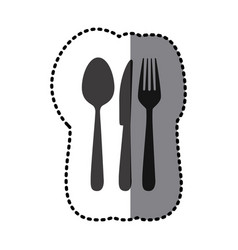 Sticker shading monochrome cutlery kitchen vector
