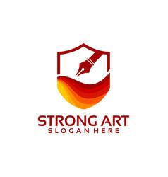 strong art logo template art shield logo designs vector image