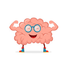 Strong happy healthy brain character vector