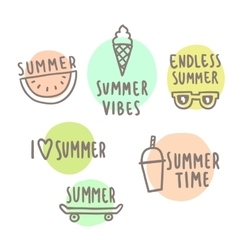 Summer time set cute icons vector