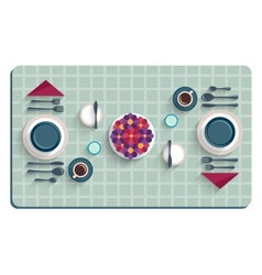 table setting for breakfast top view desk vector image