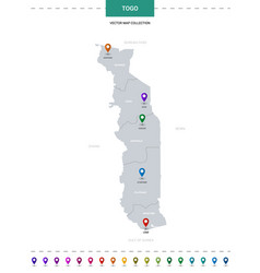 Togo map with location pointer marks infographic vector