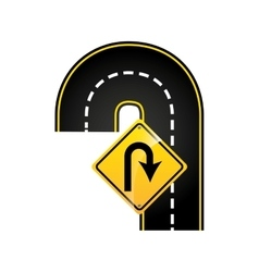 u-turn road sign concept graphic vector image