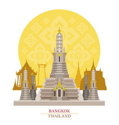 Wat arun bangkok thailand with decoration vector