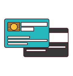 white background with credit card with chip and vector image