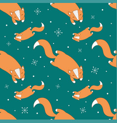 winter fox pattern vector image