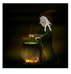 witch cooks a potion in a pot on halloween vector image