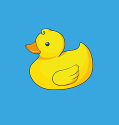 yellow duck isolated on blue background vector image