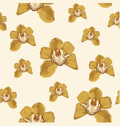 yellow orchid phalaenopsis floral seamless pattern vector image