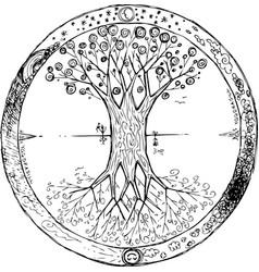 Yggdrasil tree mandala vector