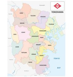 yokohama administrative and political map vector image