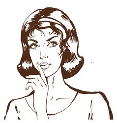 young woman portrait showing silence guesture in vector image
