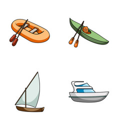 a rubber fishing boat a kayak with oars a vector image