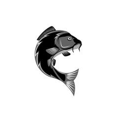carp logo creative pond fish template logo round vector image vector image
