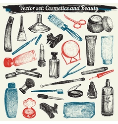 Cosmetics And Beauty Doodles vector image