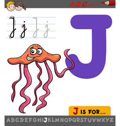 letter j with cartoon jellyfish vector image vector image