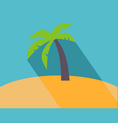 long shadow flat icon of palm tree vector image vector image