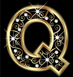 Q gold letter with swirly ornaments vector image