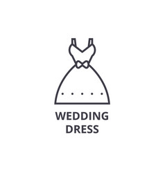 wedding dress line icon outline sign linear vector image vector image