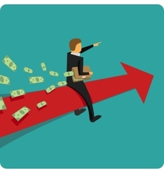 Businessman on red arrow vector image vector image