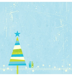 Christmas tree with present vector image