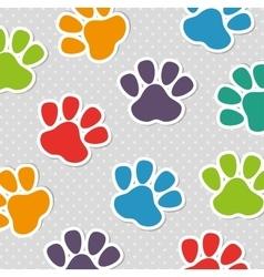 foot print pet colors seamless pattern vector image