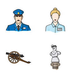 guard guide statue gun museum set collection vector image vector image