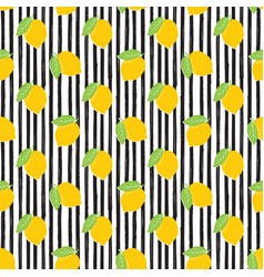 lemon hand drawn sketch striped seamless pattern vector image