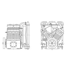 sketch internal combustion engine vector image