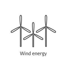 wind energy thin line icon windmills eco energy vector image vector image