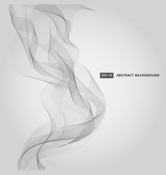 abstract black line waves smoke on gray background vector image