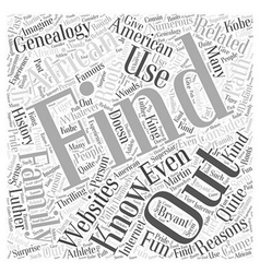 african american genealogy Word Cloud Concept vector image