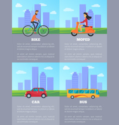 bike and moped car and bus vector image
